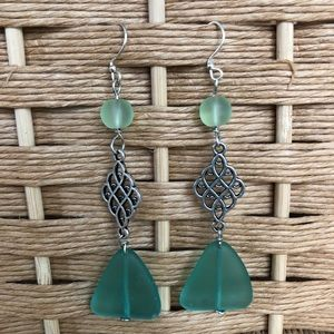 Handcrafted teal sea glass drop earrings NEW 💚